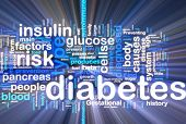 foto of diabetes symptoms  - Word cloud concept illustration of diabetes condition glowing neon light style - JPG