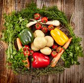 stock photo of parsnips  - Nest of vegetables a mix with potatoes paprika carrots cherry tomatoes and parsnip surrounded by herbs - JPG