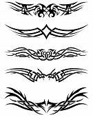 stock photo of maori  - Set tribal tattoos - JPG