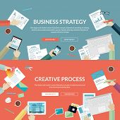 Set of flat design concepts for business strategy and creative process poster