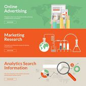Постер, плакат: Set of flat design concepts for online advertising marketing research and analytics search informat