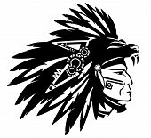 image of panther  - Aztec tribe warrior wearing feather headdress with panther head black and white vector design - JPG