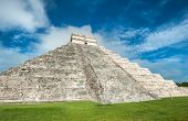 stock photo of yucatan  - El Castillo or Temple of Kukulkan pyramid Chichen Itza Yucatan Mexico - JPG