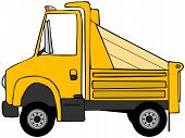 foto of dump_truck  - This illustration depicts a cartoon style yellow dump truck - JPG