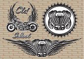 picture of exhaust pipes  - vector set of retro emblems on the motorcycle theme - JPG