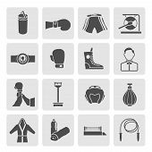 foto of referee  - Set of boxing winner referee equipment weights icons in gray color on grey squares vector illustration - JPG