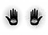 pic of freemasons  - Set vector icons of hand and eye - JPG
