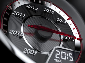 pic of countdown  - 3d illustration of 2015 year car speedometer - JPG