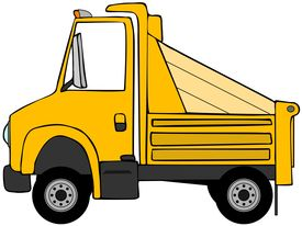 image of dump_truck  - This illustration depicts a cartoon style yellow dump truck - JPG