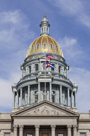 image of granite dome  - Golden Dome of Colorado State Capitol Building in Denver - JPG