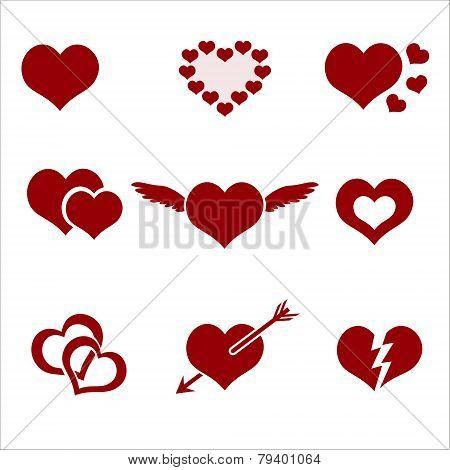 Set Of Red Valentine Hearth Love Symbols Eps10
