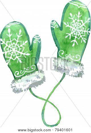 Watercolor Green Mittens. Vector Illustration.