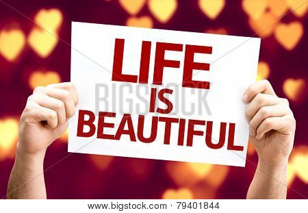 Life is Beautiful card with heart bokeh background