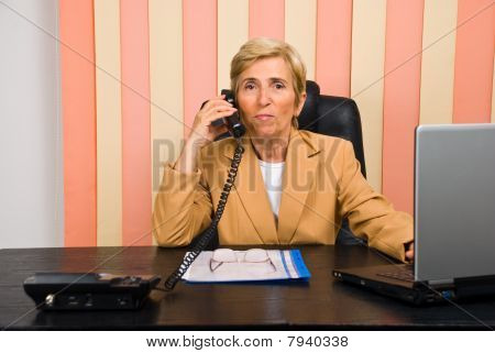 Senior Businesswoman Call By Phone