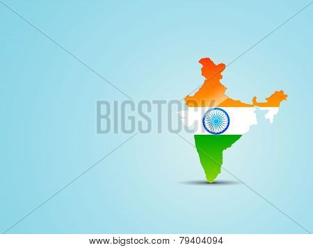 vector india map with indian flag inside and placed on light blue background