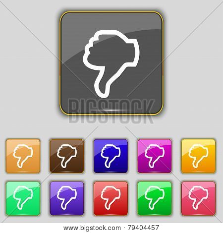 Dislike Sign Icon. Thumb Down. Hand Finger Down Symbol. Set Of Colored Buttons. Vector