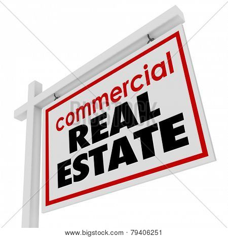 Commercial Real Estate sign to advertise or illustrate the sale of an office building or retail store for a business to move to a new location