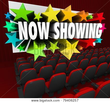 Now Showing words on a movie screen advertising a movie, film or online event such as a webinar attracting an audience of participants, viewers or attendees