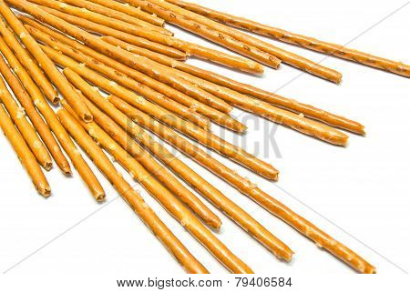 Some Salted Breadsticks On White