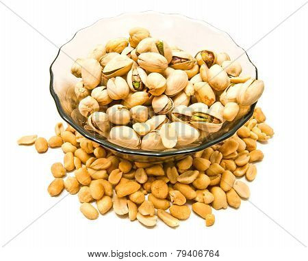 Dish With Pistachios And Peanuts