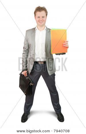 Businessman Holding  Colored Papers