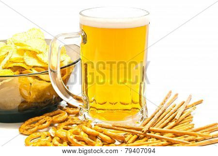 Pretzels, Breadsticks, Chips And Beer On White