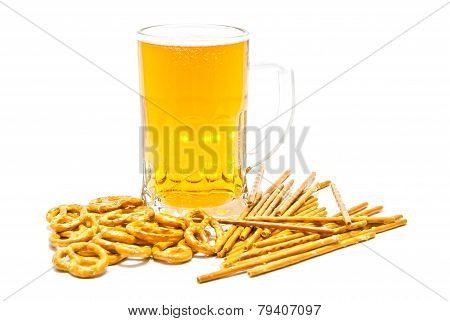 Tasty Pretzels, Breadsticks And Beer Closeup