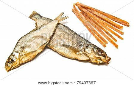 Fish Strips And Smoked Fish Closeup