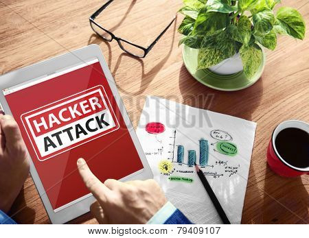 Warning Hacker Attack Digital Device Wireless Browsing Concept