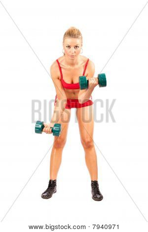 Woman Doing Fitness With Weights