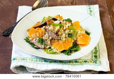 Bulghar Wheat, Liver And Clementine Salad