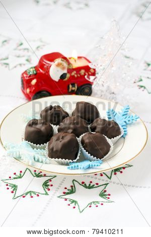 Homemade Chocolate Candies And Christmas Candle