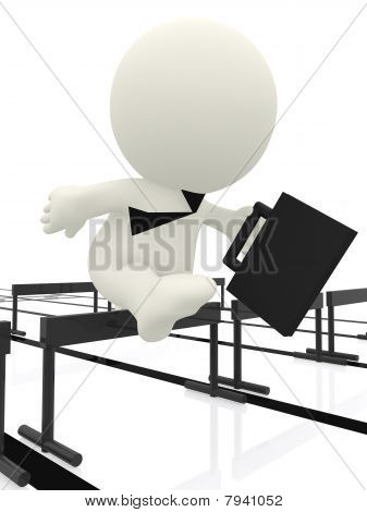 Business Man Jumping Hurdle