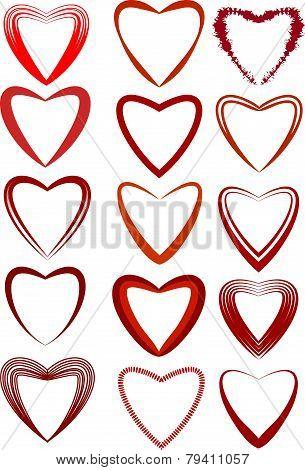 Valentines Day Heart-shaped Set. Vector Illustration.