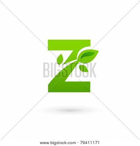 Letter Z Eco Leaves Logo Icon Design Template Elements