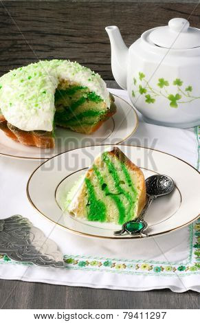 White And Green Zebra Cake For Saint Patrick's Day