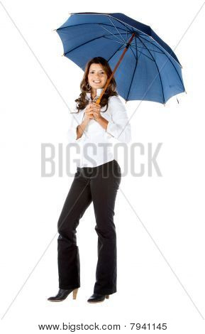 Business Woman holding einen Regenschirm