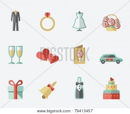 Wedding icons, flat design