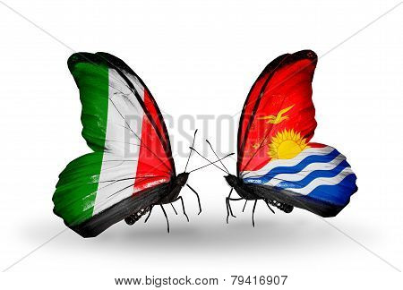 Two Butterflies With Flags On Wings As Symbol Of Relations Italy And Kiribati