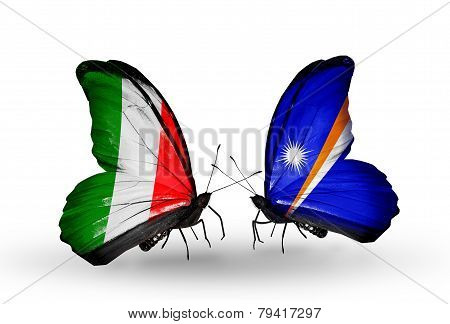 Two Butterflies With Flags On Wings As Symbol Of Relations Italy And  Marshall Islands