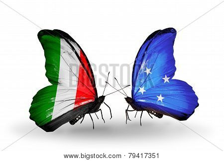 Two Butterflies With Flags On Wings As Symbol Of Relations Italy And Micronesia