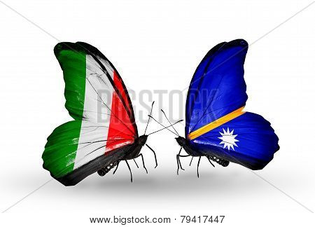 Two Butterflies With Flags On Wings As Symbol Of Relations Italy And Nauru