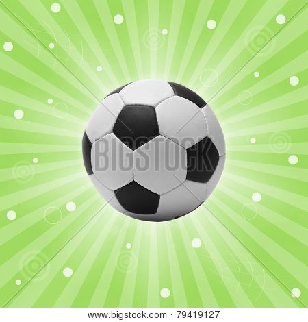 Football ball on bright green background, sports poster