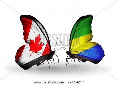 Two Butterflies With Flags On Wings As Symbol Of Relations Canada And Gabon