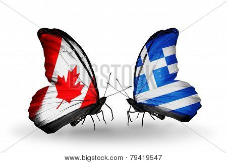 Two Butterflies With Flags On Wings As Symbol Of Relations Canada And Greece