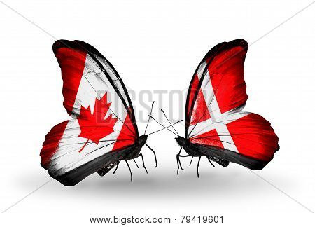 Two Butterflies With Flags On Wings As Symbol Of Relations Canada And Denmark
