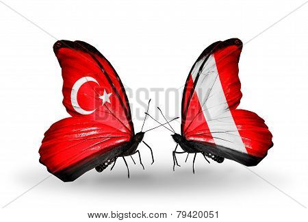 Two Butterflies With Flags On Wings As Symbol Of Relations Turkey And Peru