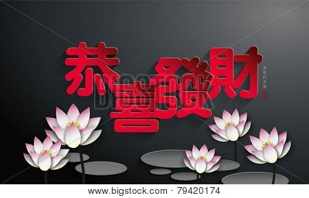 Lotus Chinese new year background. The chinese character