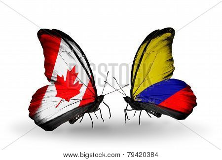 Two Butterflies With Flags On Wings As Symbol Of Relations Canada And Columbia