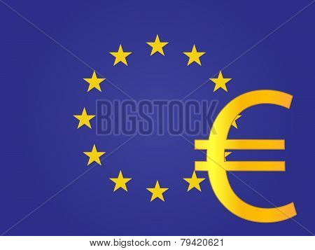 Euro Currency Sign Over The European Union Flag